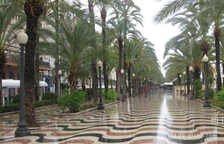 Пешеходный бульвар Эспланада, Аликанте
