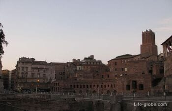 Forum of Trajan in Rome. As well as the column of Trajan and the church on the Esplanade Forum