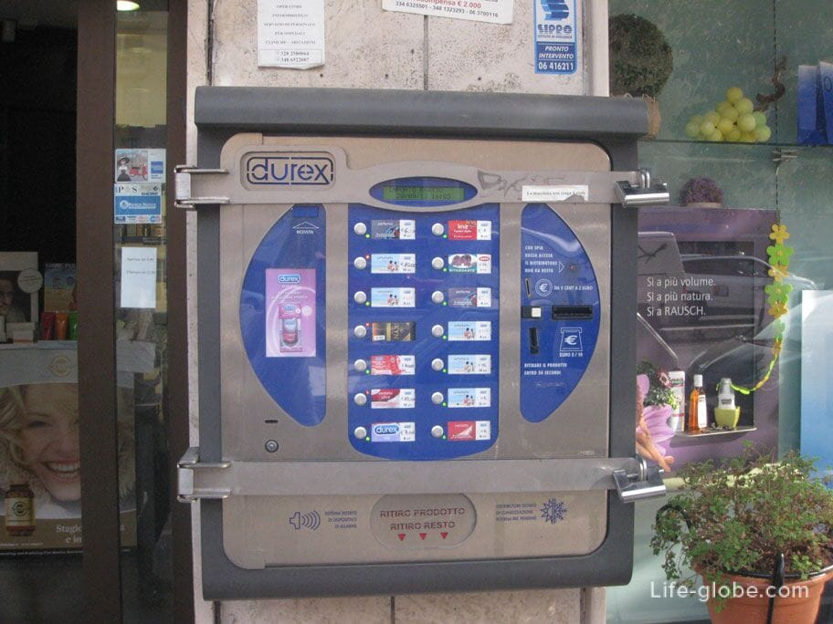 condom machines on the streets of Rome