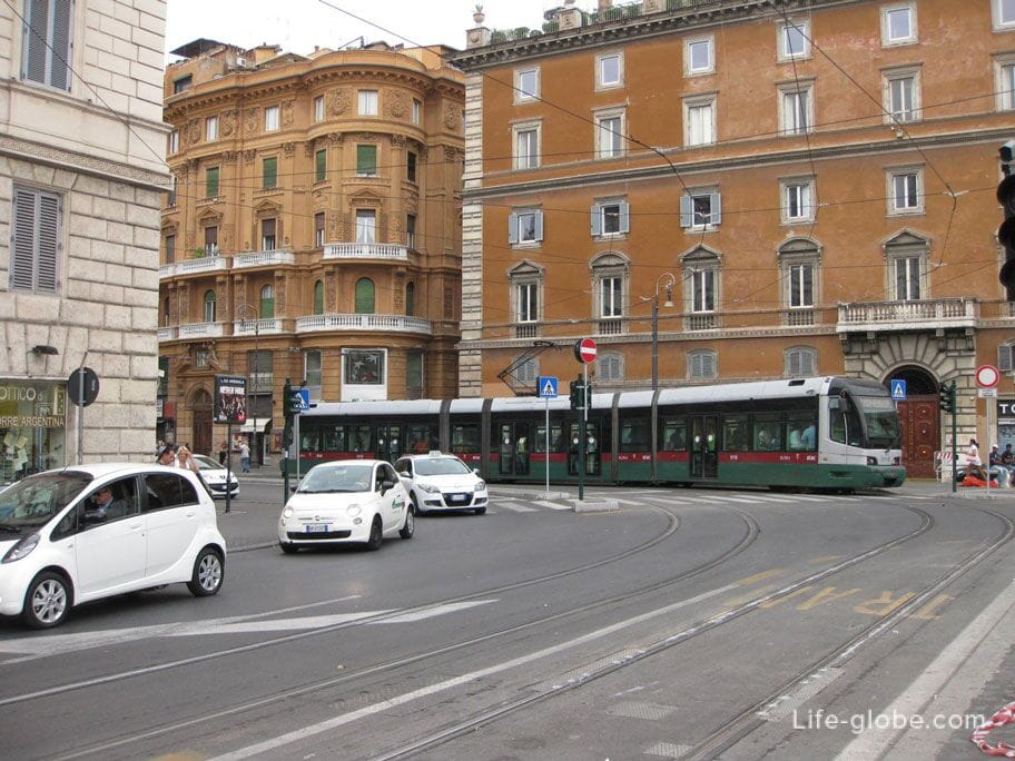 Trams in Rome, Italy