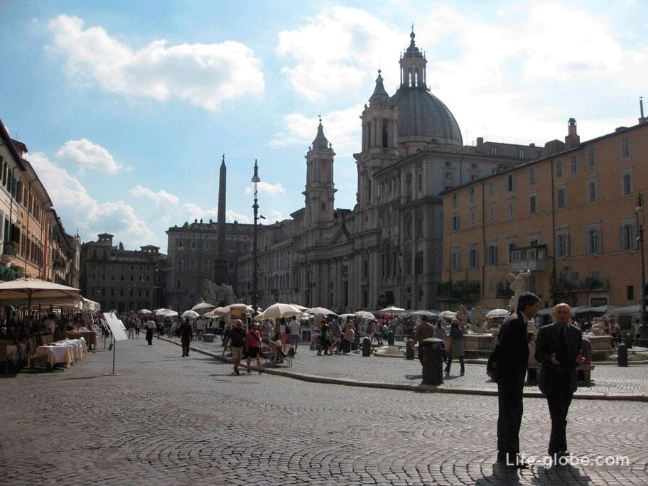 food in the central squares of Rome, contraindicated