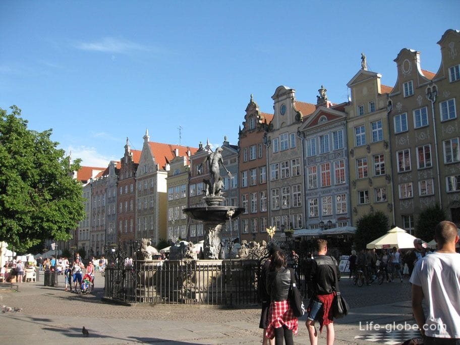 Neptune Fountain in the old town of Gdansk
