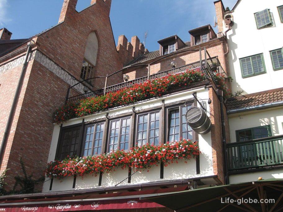 fresh flowers on the balconies of Gdansk