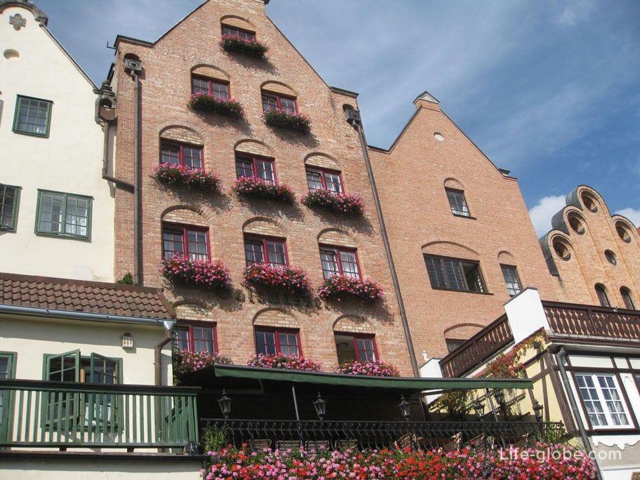 flowers on the windows in Gdansk