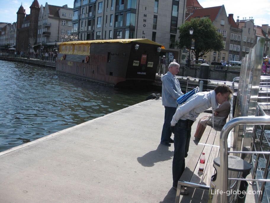 a stop pier for water trams in Gdansk
