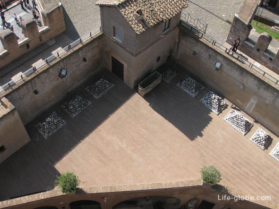 вид на пушечные ядра с верхней площадки замка Сант-Анджело