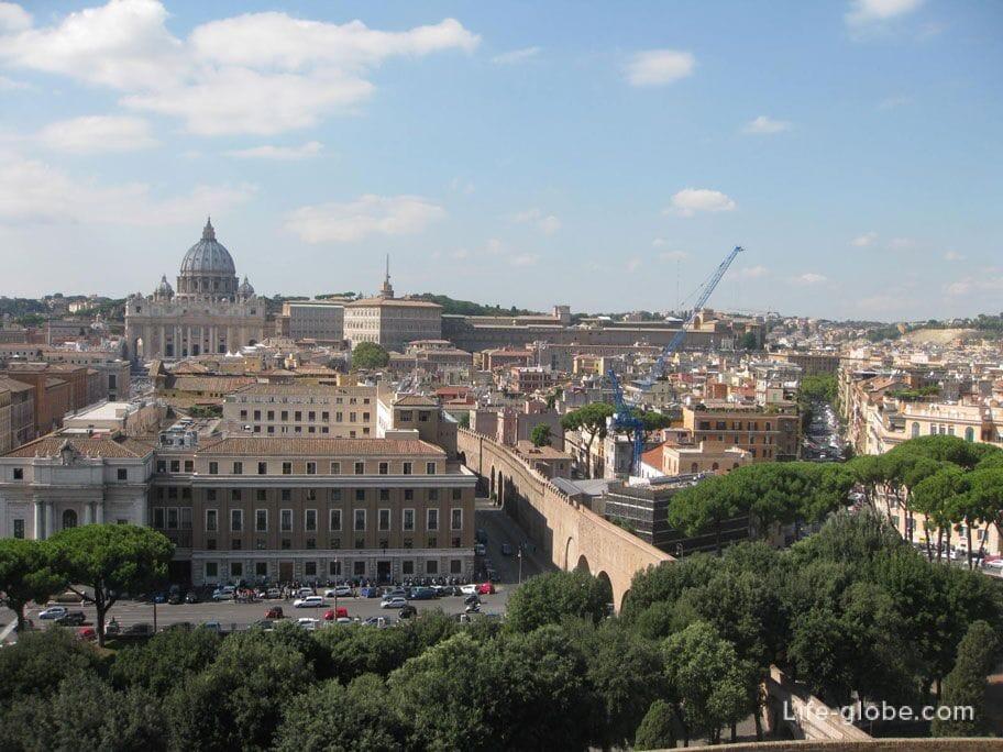 панорама Рима с верхней площадки замка Святого Ангела в Риме