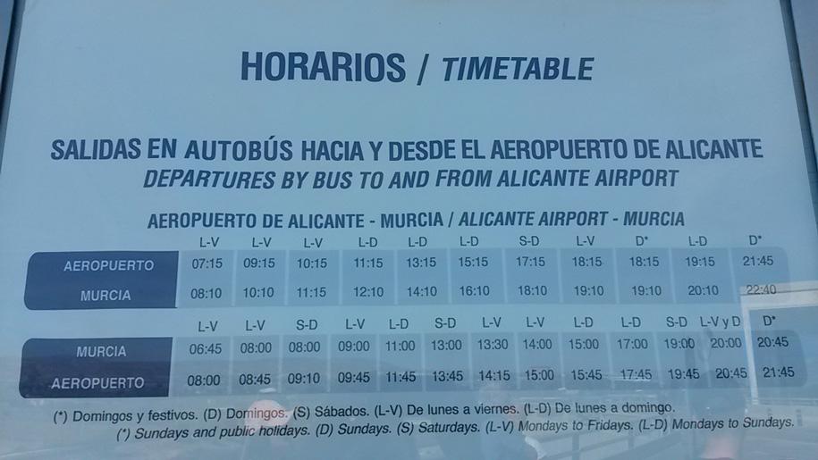 Из Аликанте в Мурсию - расписание автобусов