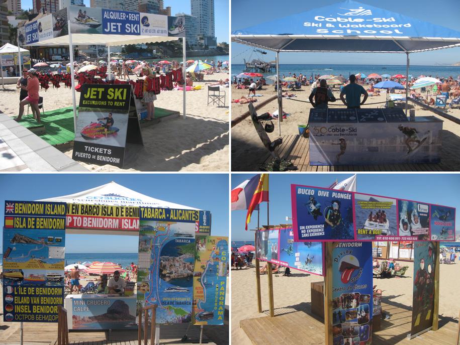 Водные виды спорта и развлечения на пляже Леванте, Бенидорм