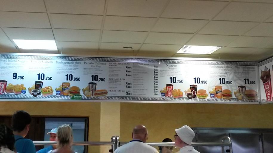 Цены на еду в кафе, парк Терра Митика в Бенидорме