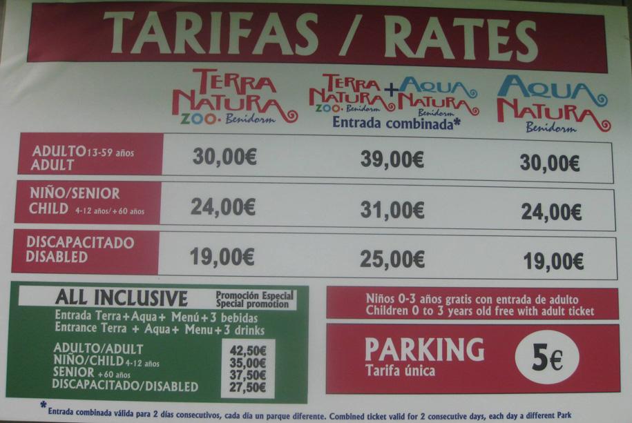 Стоимость билетов в парки Терра Натура и Аква Наутра, Бенидорм