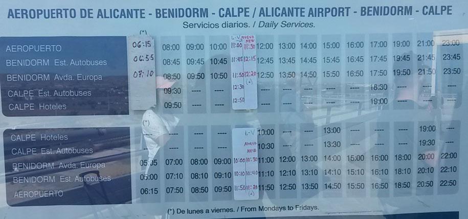 Расписание автобусов из аэропорта аликанте