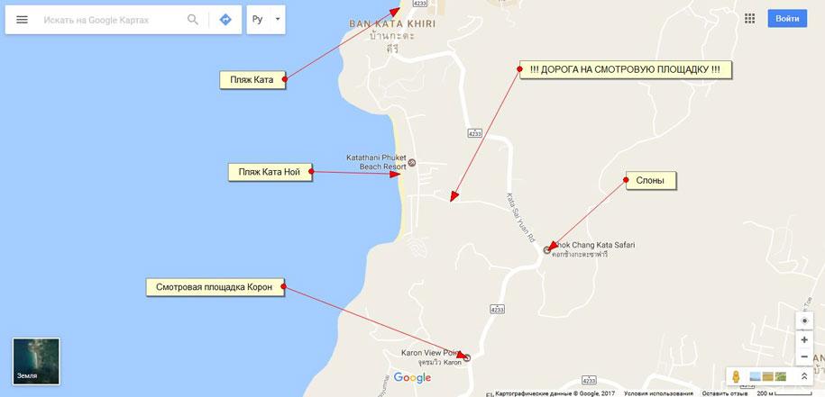 Дорога, ведущая от пляжа Ката Ной к улице Kata-Sai Yuan Rd, карта