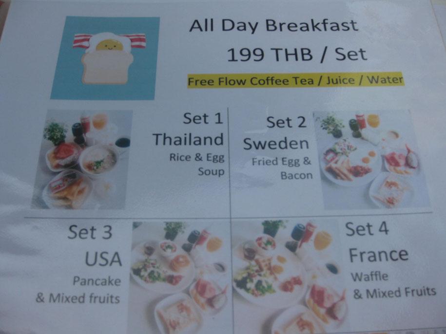 Цена в кафе на завтраки, пляж Равай, Пхукет